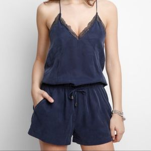 Blank NYC Lace Trim Romper Blue Size XL